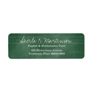 Green Chalkboard Teacher Tutor Custom Return Address Label