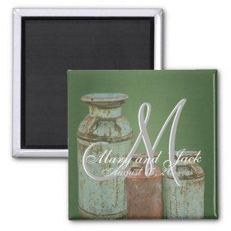 Green Chalkboard Vintage Metal Milk Jugs Wedding 2 Inch Square Magnet