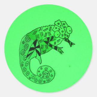 Green chameleon ink classic round sticker