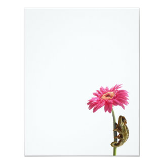Green chameleon on pink flower card