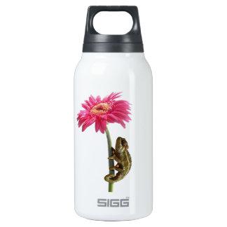 Green chameleon on pink flower insulated water bottle