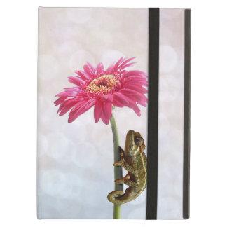 Green chameleon on pink flower iPad folio case