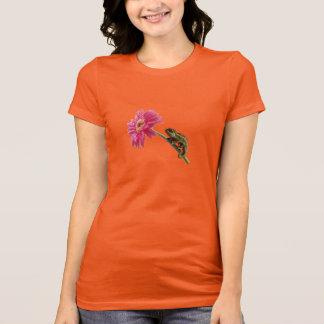 Green chameleon on pink flower T-Shirt