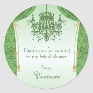 Green Chandelier and Damask Curtain Bridal Shower Classic Round Sticker