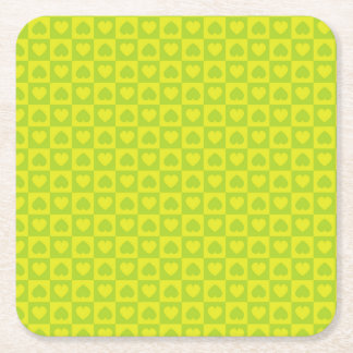 Green Chartreuse Heart Design Square Paper Coaster