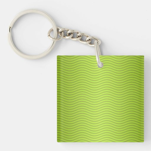 Green Chartreuse Stripes Pattern Square Acrylic Keychains