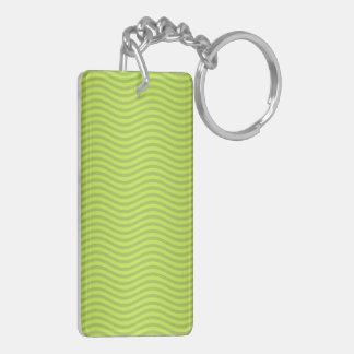 Green Chartreuse Stripes Pattern Keychain