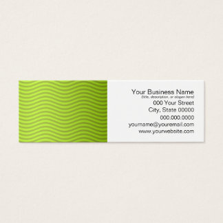 Green Chartreuse Stripes Pattern Mini Business Card