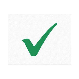 Green check mark canvas print