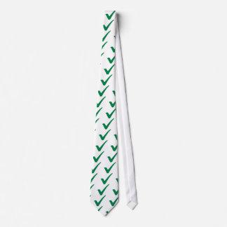 Green check mark neck tie