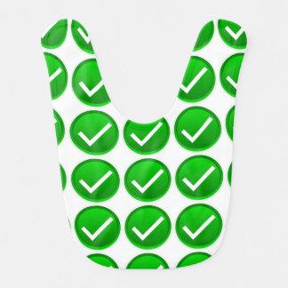 Green Check Mark Symbol Baby Bib