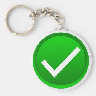 Green Check Mark Symbol Basic Round Button Keychain