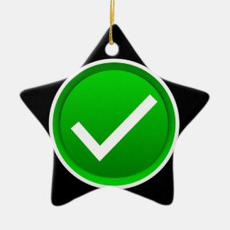 Green Check Mark Symbol Ceramic Ornament