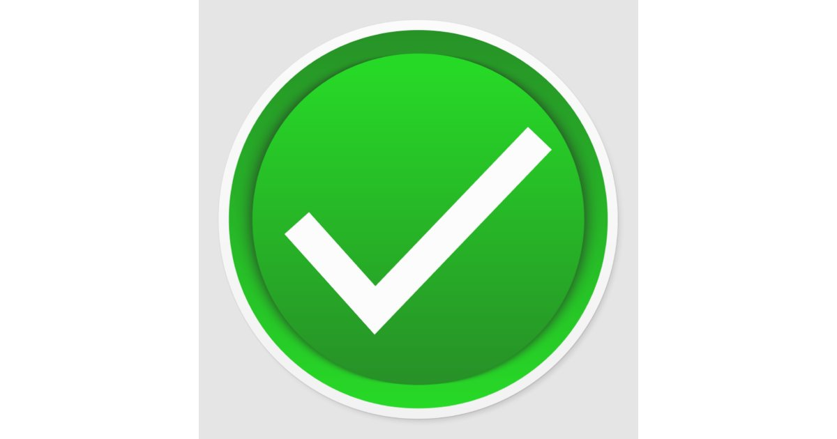 Green Check Mark Symbol Classic Round Sticker | Zazzle.com on ✔  id=97732