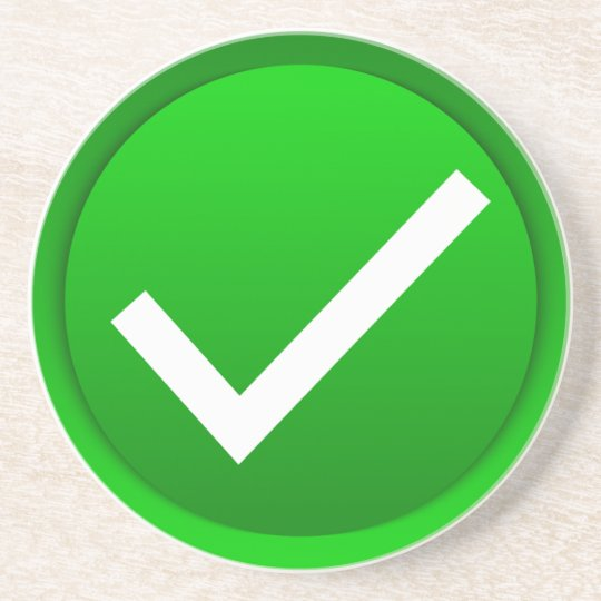 Green Check Mark Symbol Coaster