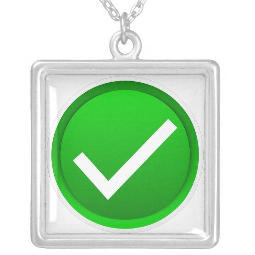Green Check Mark Symbol Custom Necklace