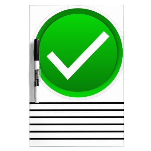 Green Check Mark Symbol Dry Erase Whiteboards