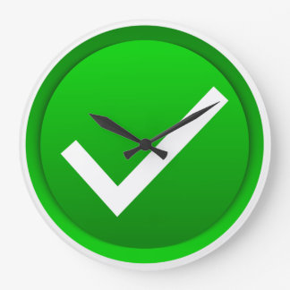 Green Check Mark Symbol Large Clock
