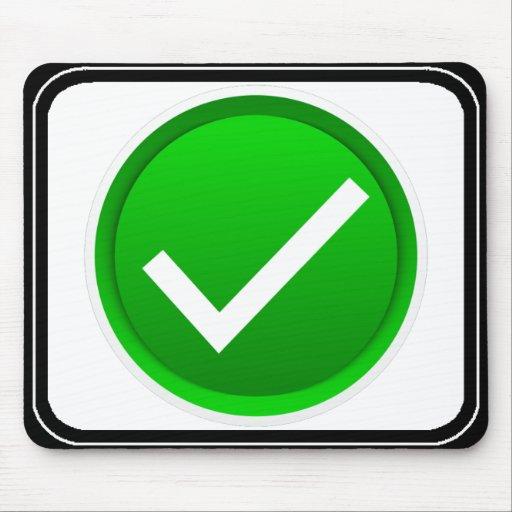 Green Check Mark Symbol Mouse Pad