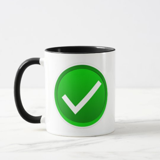 Green Check Mark Symbol Mug