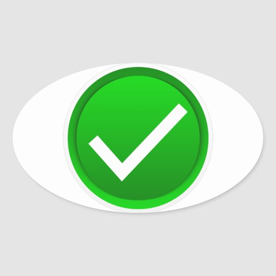 Green Check Mark Symbol Oval Sticker