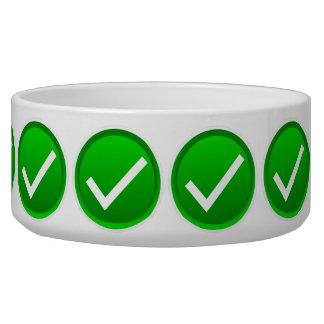 Green Check Mark Symbol Pet Food Bowls