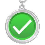 Green Check Mark Symbol Round Pendant Necklace