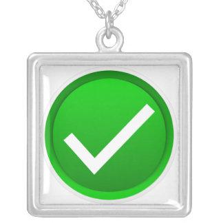 Green Check Mark Symbol Square Pendant Necklace