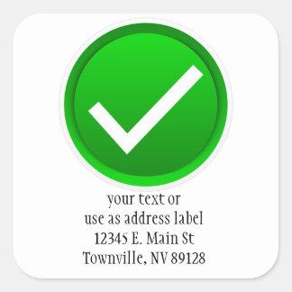 Green Check Mark Symbol Square Sticker