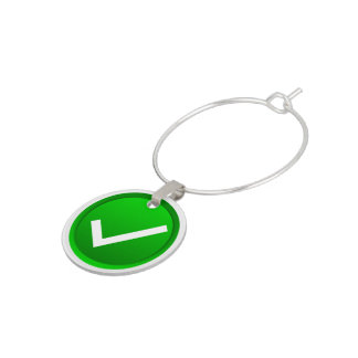 Green Check Mark Symbol Wine Glass Charm