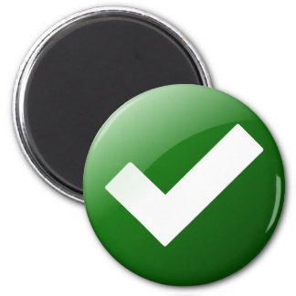 Green Check Mark Write Symbol 2 Inch Round Magnet