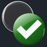 """Green Check Mark Write Symbol Magnet<br><div class=""""desc"""">It is a big green check mark. Use this magnet as a positive alert. You can add your own text to personalize it.</div>"""