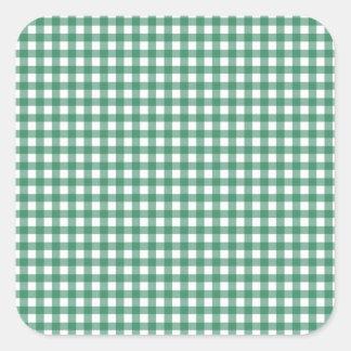 Green Check Pattern Square Sticker