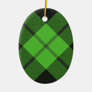 Green Check Tartan Ceramic Ornament