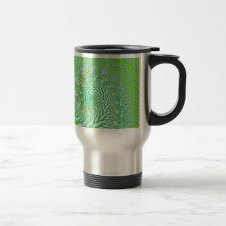 Green Checked Spirals Travel Mug