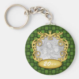 Green Checker Custom Photo Baby's First Christmas Basic Round Button Keychain