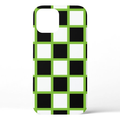 Green Checker Pattern iPhone 12 Case