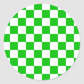 Green checkerboard classic round sticker