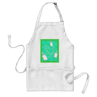 Green Checkerboard It's A Boy! Adult Apron