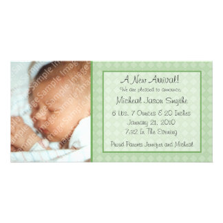 Green Checkerboard New Baby Photo Card