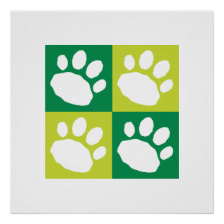 Green Checkerboard Paw Print