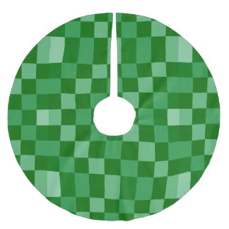 Green Checkerboard Texture Pattern Brushed Polyester Tree Skirt