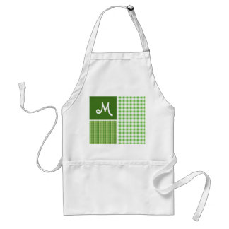 Green Checkered; Gingham Adult Apron