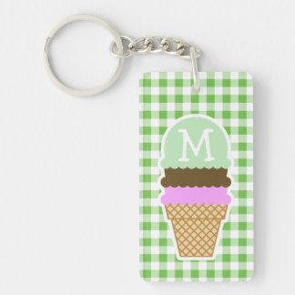 Green Checkered; Gingham; Ice Cream Cone Keychain
