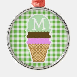Green Checkered; Gingham; Ice Cream Cone Christmas Tree Ornament