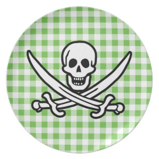 Green Checkered; Gingham Jolly Roger Plate
