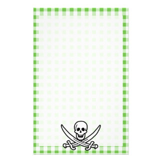 Green Checkered Gingham Jolly Roger Personalized Stationery
