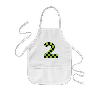 Green Checkered Number Two Kids' Apron