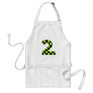 Green Checkered Number Two Adult Apron