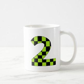 Green Checkered Number Two Coffee Mug
